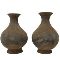 Pair of Dusted Terra Cotta Vases, China, Contemporary