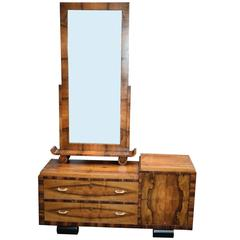 1930s Art Deco Italian Walnut Cheval Mirror