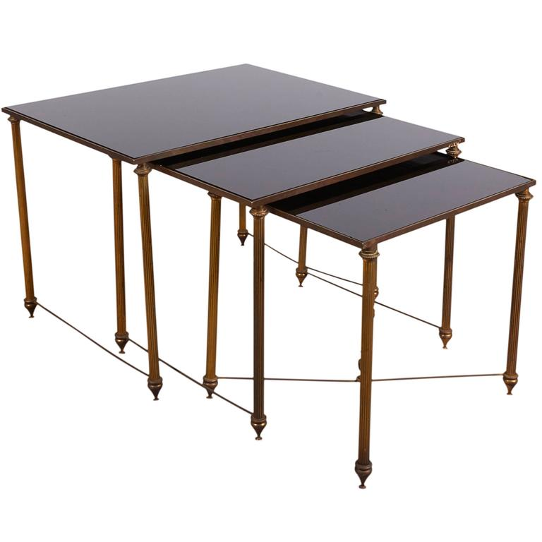 Neoclassical Black Glass Top Bronze Nesting Tables, Manner Of Maison Jansen  For Sale