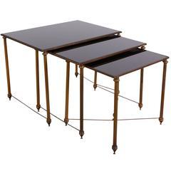 Neoclassical Black Glass Top Bronze Nesting Tables, Manner of Maison Jansen