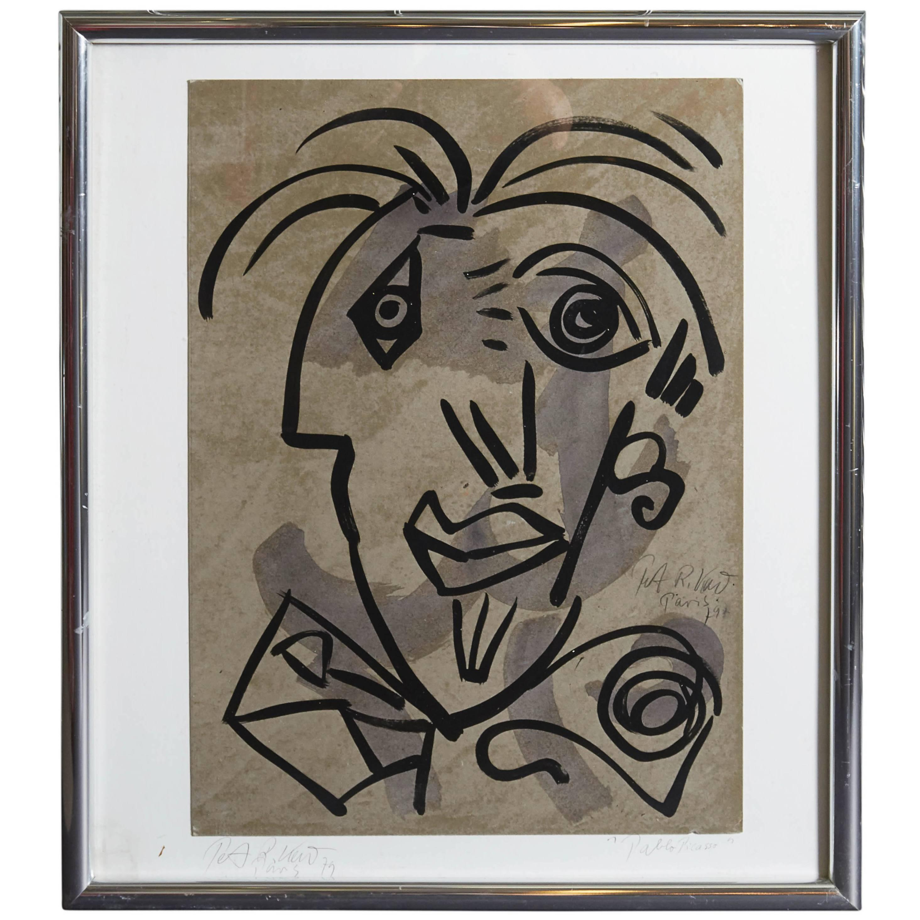 Peter Robert Keil, 'Pablo Picasso', Paint on Board, Signed