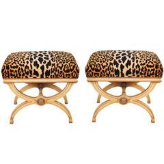 Pair of Hollywood Regency Leopard Print Velvet Benches