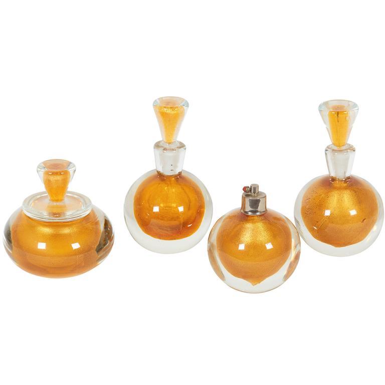 Four-Piece Art Deco Murano Glass Perfume Set