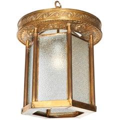 Art Deco 1930s Brass Theatre Lantern with Cherub Motifs