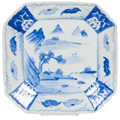 Japanese Early 20th Century Blue and White Porcelain Plate