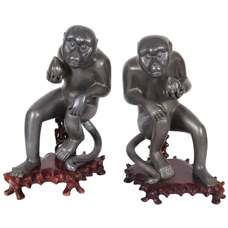 Pair of Chinese Export Pewter Monkey Sculptures on Bases For Sale