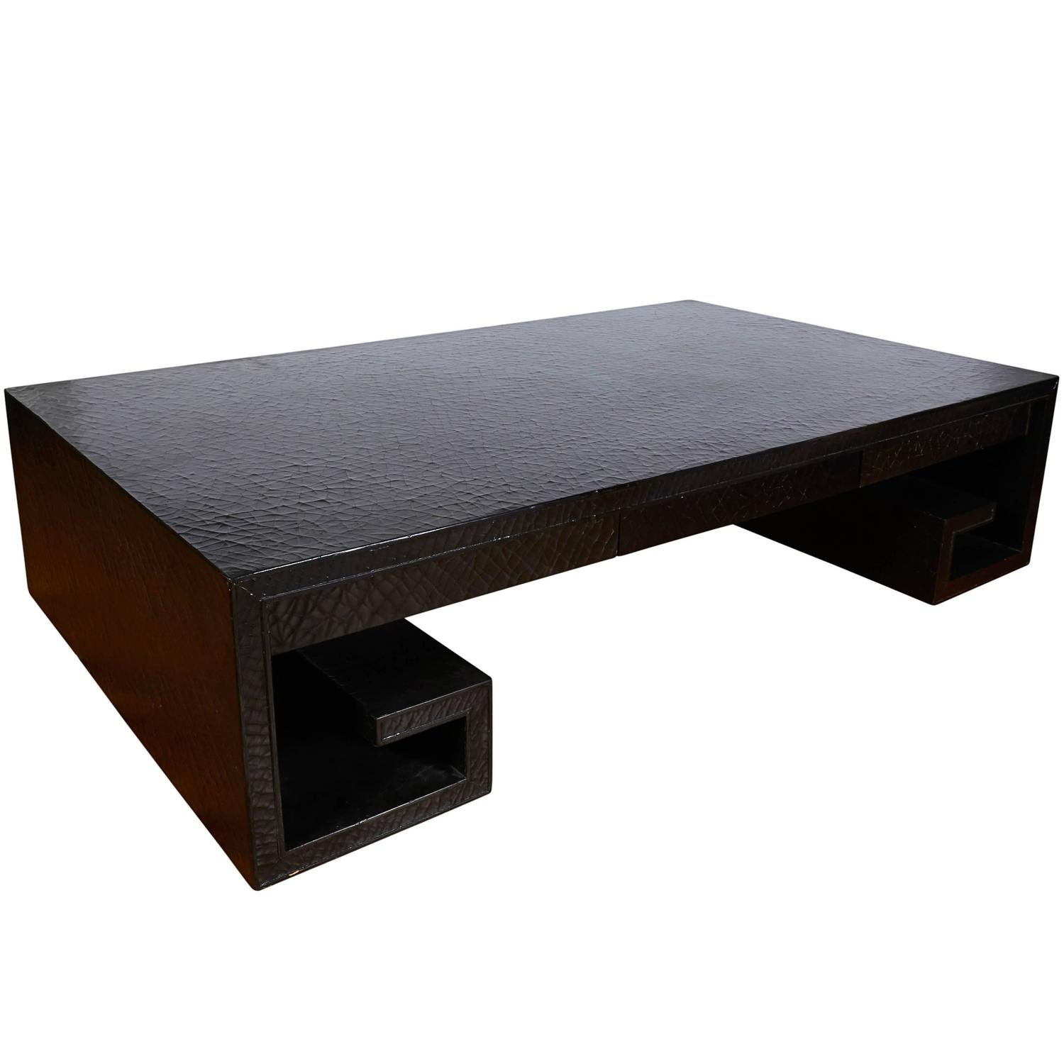 Thomas Pheasant Black Crackle Lacquer Scroll Coffee Table for