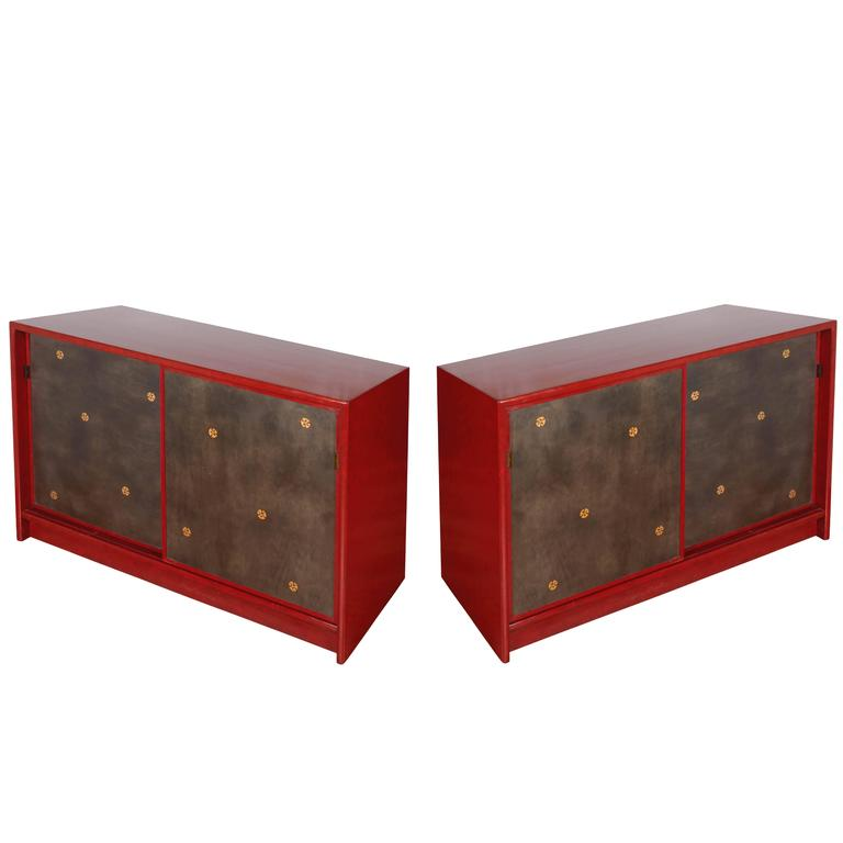 Pair of Tommi Parzinger Style Red Lacquer Asian Cabinets For Sale