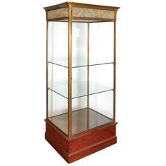 Art Deco Era Illuminated Glass and Brass Vitrine