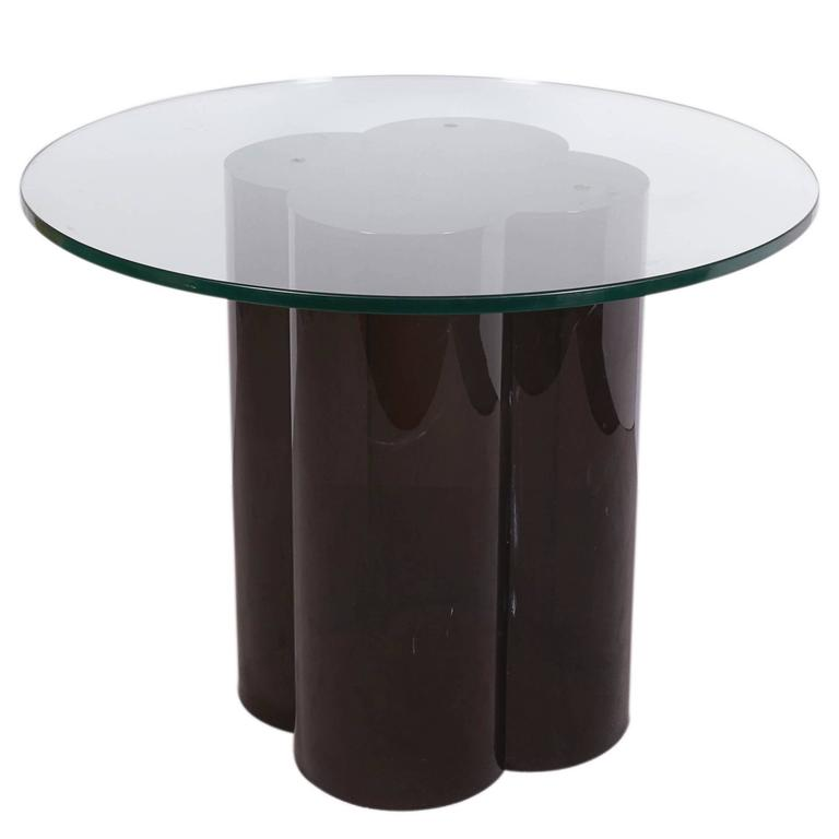 Glass Top Quatrefoil Black Acrylic Pedestal Table, Attributed To John  Mascheroni For Sale