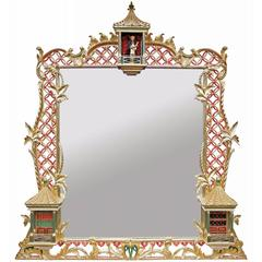Water Gilded Etched Over-Mantel Mirror
