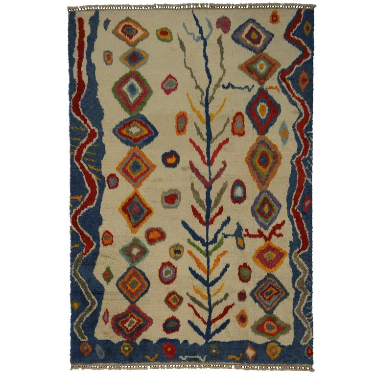 Modern Turkish Tulu Shag Rug with Contemporary Abstract Tribal Style For Sale