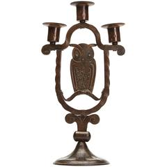 Viennese Secessionist Hugo Berger Owl Candlestick, circa 1900
