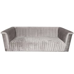 Custom Modernist Channel Design Sofa in Platinum Velvet