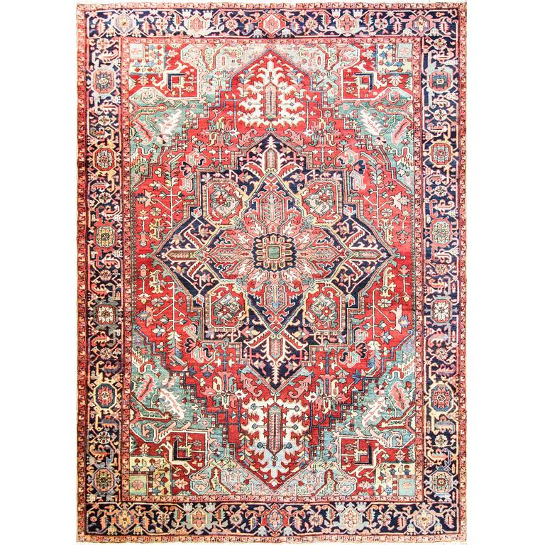 Charming Antique Persian Heriz Carpet For Sale At 1stdibs