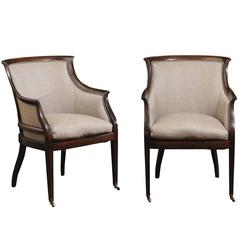 Pair of Holland & Sherry Wool and Mahogany Gondola Form Club Chairs