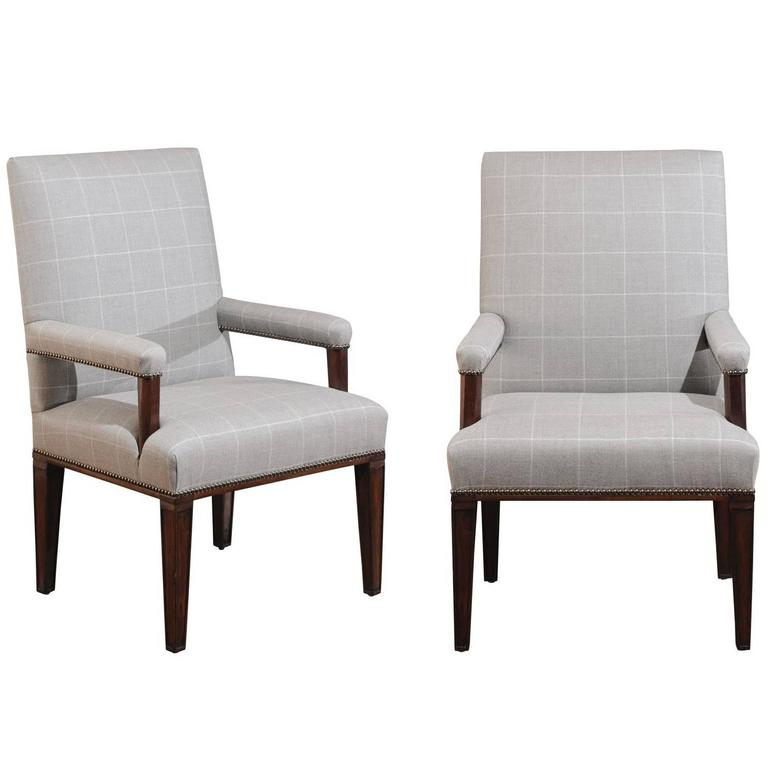 Pair of Directoire Style Armchairs in Holland & Sherry grey window pane wool 1