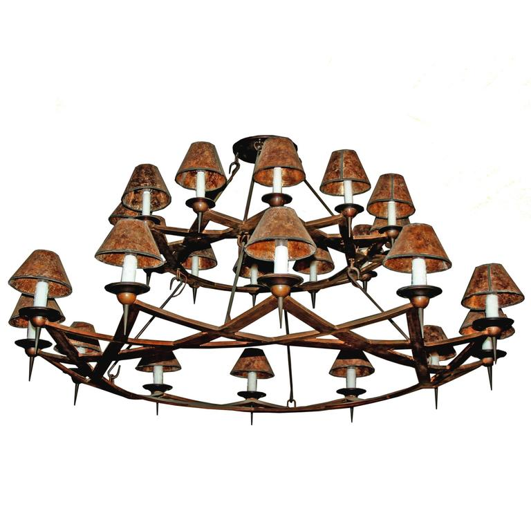 Double Dos Equis Arts and Crafts Style Wrought Iron Chandelier