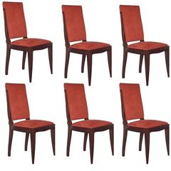 Set of Six Art Deco Mahogany Dining Chairs by Gaston Poisson