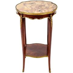 Louis XV Style Gilt and Marble-Top Gueridon or Side Table, 19th Century