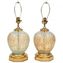 Pair of Mid-Century Phoenix Glass Lamps