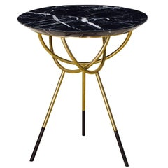 Atlas Brushed Brass End Table with Black Marble Top by AVRAM RUSU STUDIO