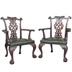 Fine Pair of 19th Century Chippendale Revival Mahogany Armchairs