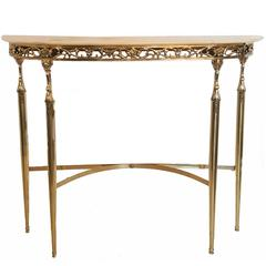 Polished Brass Italian Console