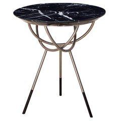 Atlas Satin Nickel Side Table with Black Marble Top by AVRAM RUSU STUDIO