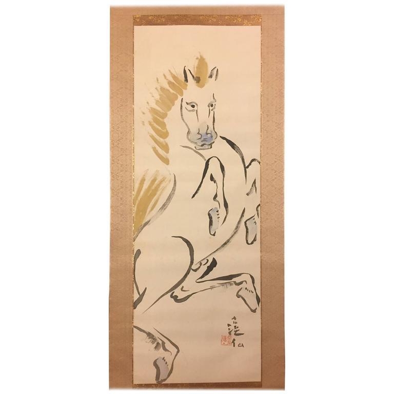 Japan Important Horse Uma Scroll Silk Painting Keisen Tomita Taisho Original Box