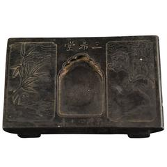 Chinese Inkstone with Bamboo and Birds in Flight