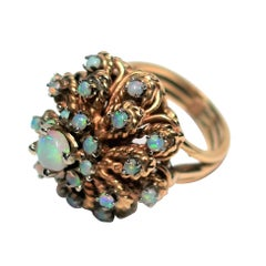 Vintage Opal and 14-Karat Yellow Gold Cocktail Ring, ca. 1960s