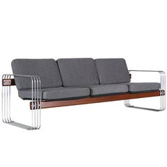 Mid-Century Chrome and Red Wood Sofa by Stending