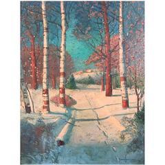 "Sven Svendsen ""Winter Birches"" Impressionist Oil Painting"