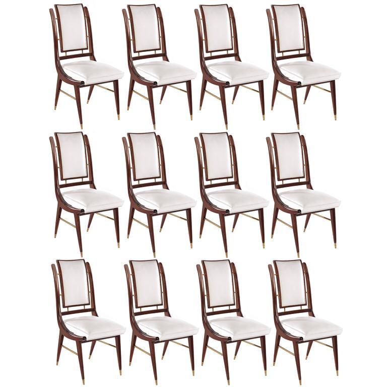 Set of Twelve (12) Italian Modern Dining Chairs