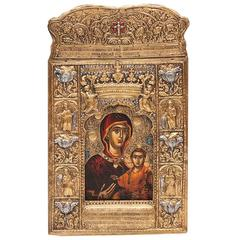 Early 20th Century Greek Icon in the 18th Century Style Depicting the Virgin and