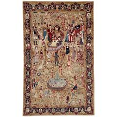 Vintage Indian Lahore Pictorial Rug