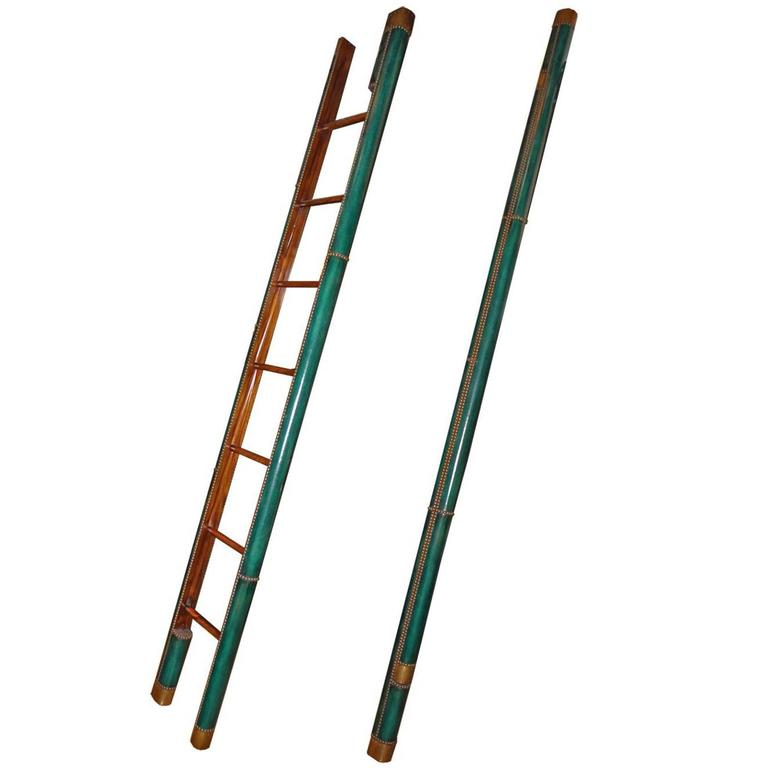 C. Mariani Custom Mahogany Folding Library Ladder in the English Taste 1