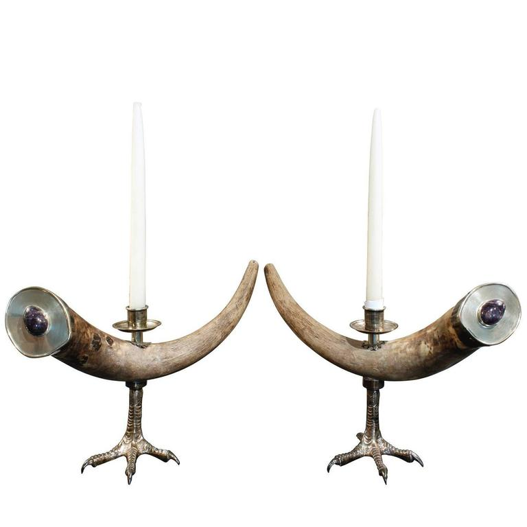 Anthony Redmile Pair of Mounted Horn Candle Holders with Polished Amethysts,1970 For Sale