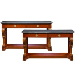 Pair of 19th Century Marble-Topped Console Tables