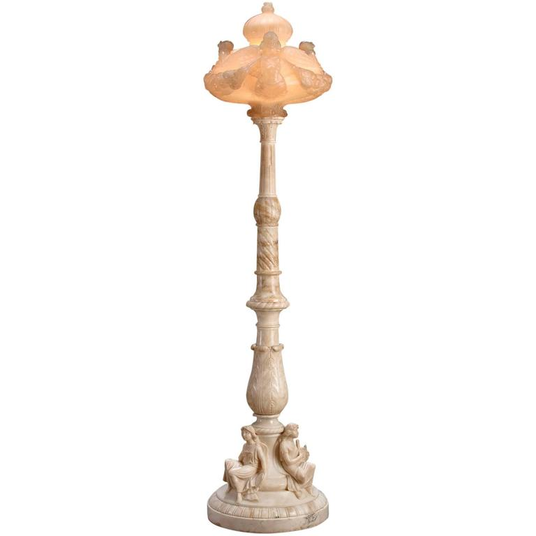Art Nouveau Style Alabaster Floor Lamp At 1stdibs