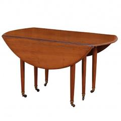 French Walnut Extending Drop-Leaf Dining Table