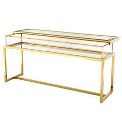 Slide Console Table in Gold Finish