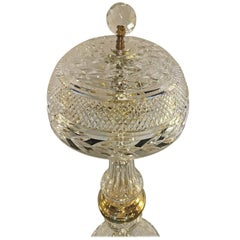 Cut Crystal Table Lamp with Crystal Shade Manner of Baccarat