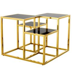 Square Tops Side Table in Gold Finish