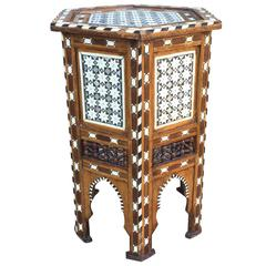 Late 19th-Early 20th Octagonal Syrian Table, Walnut Tray Inlay