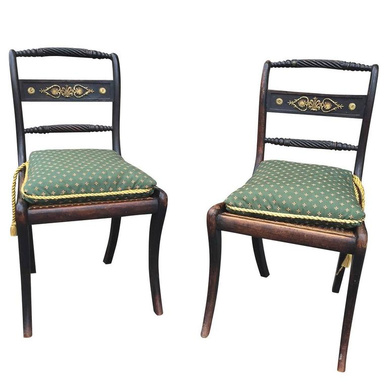 Merveilleux English Regency Chairs, Of The Period, Circa 1820 For Sale