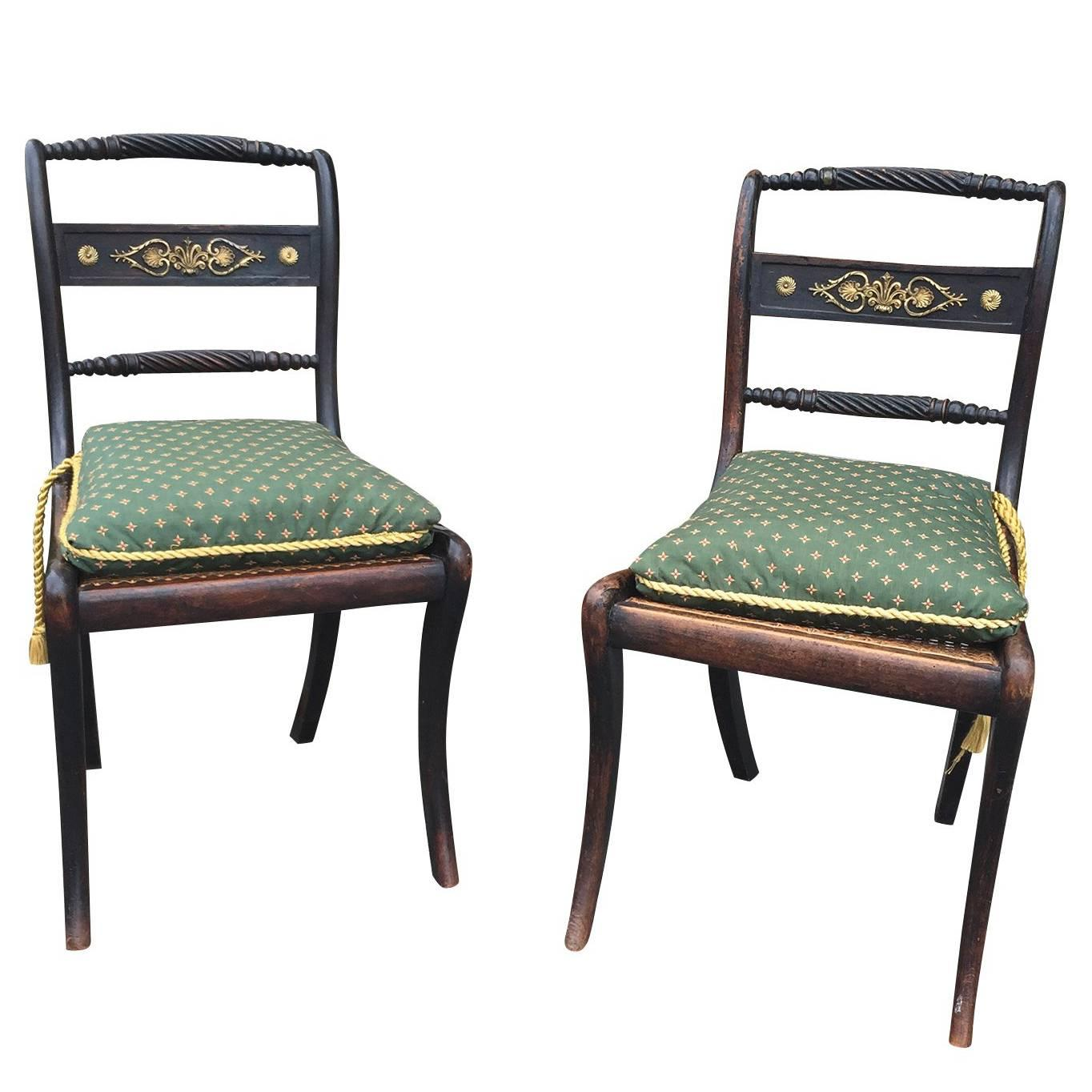Pair of Circa 1820 English Regency Side Chairs, of the Period, Cane Seat