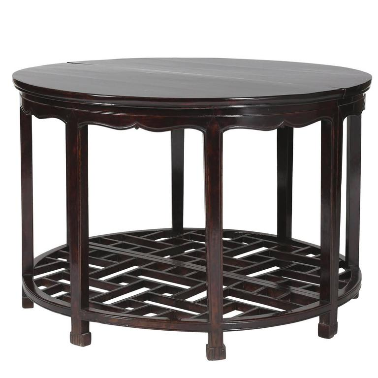 Half Moon Table antique pair chinese demilune 'half moon' tables lattice/fret