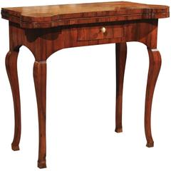 18th Century Olivewood Game Table with Drawer, Cabriole Legs and Hoof Feet